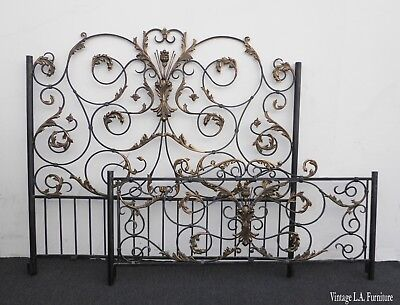 Vintage French Ornate Wrought Iron Scrolled Queen Headboard Bed ~ Spanish Style