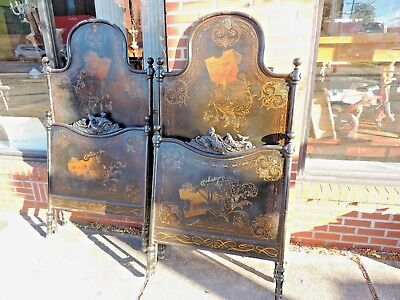 Antique French iron cast pair of twin bed (king zize) mother pearl inlaid farmin