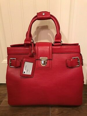 Women'sBusiness Rolling Computer Laptop Briefcase Red leather-Cabrelli & Co.
