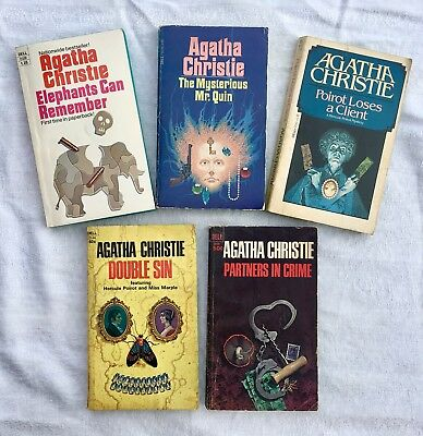 Lot of 5 Vintage AGATHA CHRISTIE New Dell Editions 1st Printings 1960's-1970's