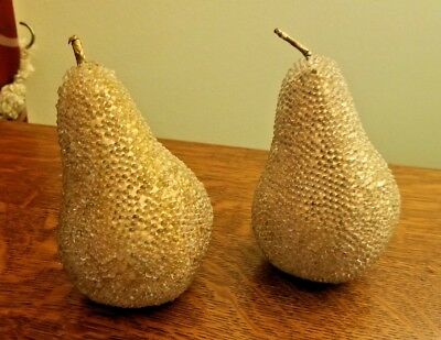Pair of Golden Pears - VINTAGE JEWELED DECORATIVE FRUIT PEAR
