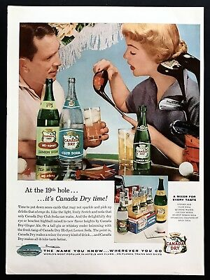 1956 Vintage Print Ad CANADA DRY Golf Driver Club Sport 50's Image Photo