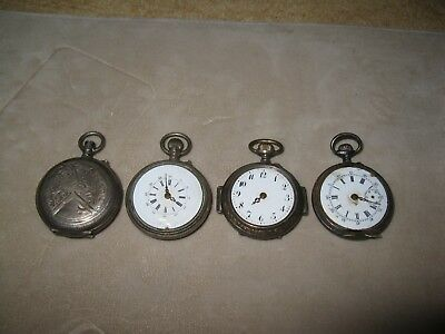 Antique Vtg 800 Silver Pocket Watch Lot As Is 4pc 95g Parts Steampunk Womens