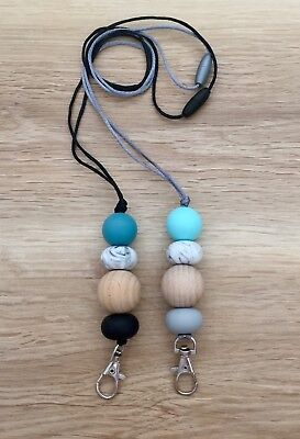 Silicone and Wood Beaded Lanyard I.D Badge Cruise Card Holder aqua Teal marble