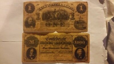 1862 BANK OF North America one dollar bill and Confederate states 1000 may  1861