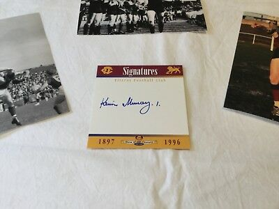 Kevin Murray hand signed card + photo set. Fitzroy Lions
