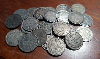 Lot of (28) Canada Silver 5 Cents 1881-1920 | Victoria, Edward, George