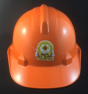 LATE 1970s QUEENSLAND STATE EMERGENCY SERVICES PROTECTIVE HARD HAT ORANGE