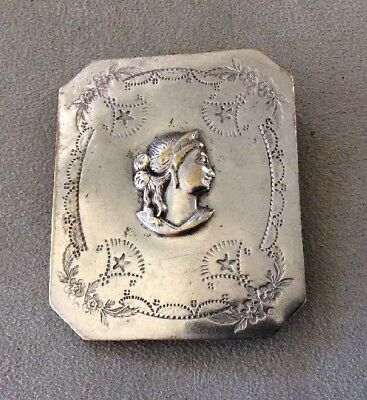 Vintage Belt Buckle RARE Silver Plated Greek / Roman Goddess Profile