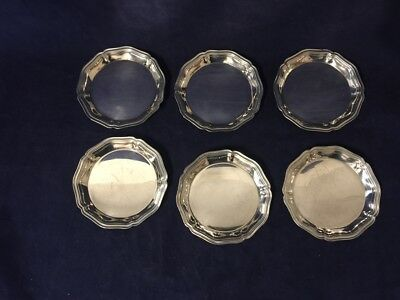 Set of 6 Vintage Christofle Silverplate Trays / Butter Dishes / Coasters 3 1/2''