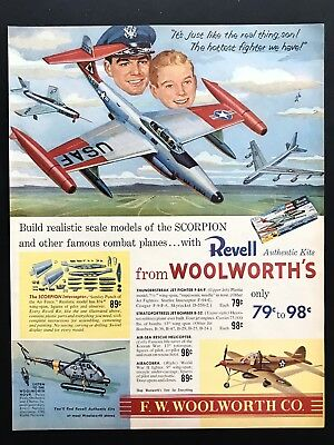 1956 Vintage Print Ad WOOLWORTH Revell Model Airplane Illustration Art 50's