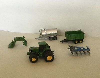 N Scale John Deere Tractor with 2 Trailers & 2 Implements (Diecast)