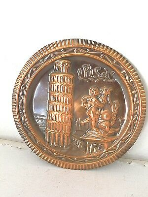 Dish MEMORY decorative to hang copper with torre of PISA