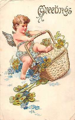 Forget-me-Not Shamrocks Good Luck Greetings Basket Child Angel Cherub Cupid 1908