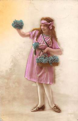 Forget-me-not flowers, vintage glamour lady, basket 1928