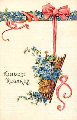 Embossed: Kindest Regards, Forget-me-Not, Ribbon, Basket, Greetings