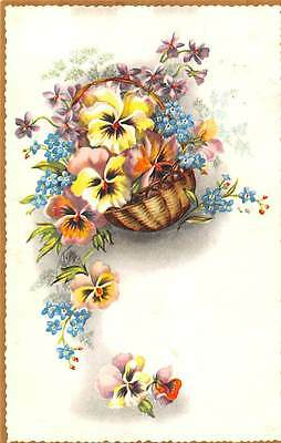 Basket flowers greetings fleurs, forget-me-not, viola, pansy, Belgie 1960