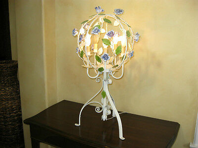 VINTAGE Italian Tole TABLE LAMP Chic SHABBY Cottage French Country LIGHT