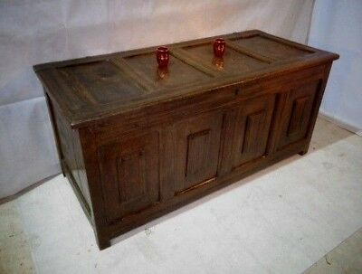 ANTIQUE EARLY 17th CENTURY OAK COFFER CARVED BOX RESTORATION PERIOD OTTOMAN