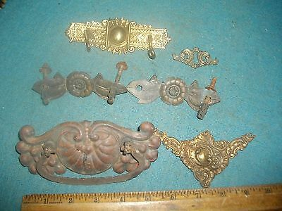 k488 Lot Of Miscellanies Antique Brass Hardware Pulls Key Hole Knobs Parts Etc