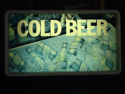Vintage Cold Beer Sign Lighted Miller Beer Sign Man Cave Bar Pool Room PokerPool