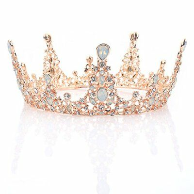 Rose Gold Wedding Crown and Tiara Queen Baroque Headband for Women and Girls