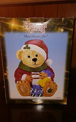 2002 Large Christmas Bear Cookie Jar By Youngs