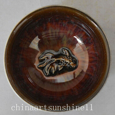 Chinese Collection Porcelain Handmade Carved Fish Statue Bowl Tea Cup