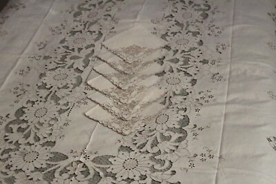 Antique MADEIRA Floral Hand Embroidery CUTWORK Banquet Tablecloth & Napkins