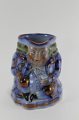 Early Antique Victorian English Hand Painted Blue Toby Mug/Pitcher Lustreware