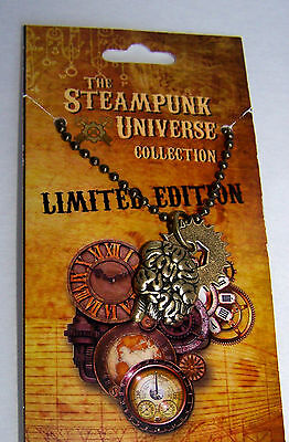 Steampunk Universe Pendant Necklace Get Your Brain In Gear & Cog Handcrafted USA