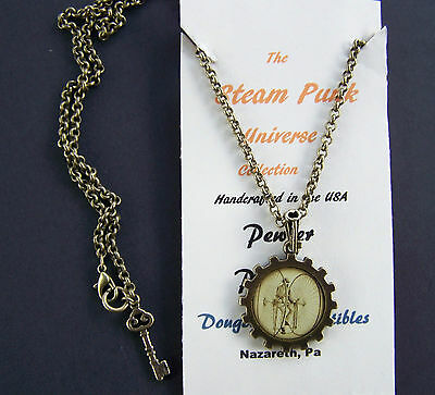 Steampunk High Wheel Bicycle Pendant Necklace Double Sided Wheel Handcrafted USA