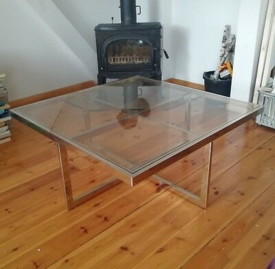 60s 70s Coffee Table in Brass and Chrome Couchtisch Glas Maison Charles Design
