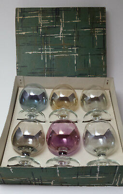 Set 6 small vintage iridescent brandy glasses harlequin in original box 1950s