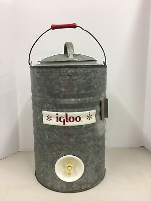 Vintage Igloo Three Gallon Galvanized Water Drinking Cooler
