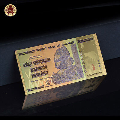 WR Zimbabwe 100 Trillion Dollars Banknote Gold Color Plated Note For Collection