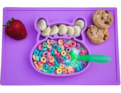 Silicone placemat and baby plate tray for infants toddlers and kids - these mats