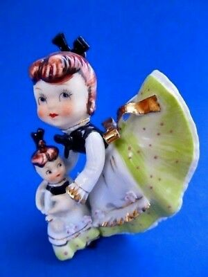 Little Girl 'playing With Her Doll' * Signed! #kw8948 *lefton 1955 *super Rare!