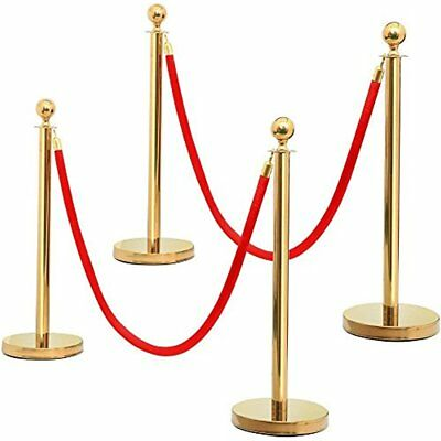 Round Top Stainless Plated Stanchions, Set Of 2 Posts W/ 1 6.5ft Red Velvet Gold