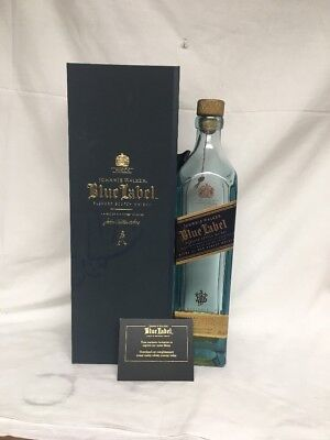 Johnnie Walker Blue Label Scotch Whiskey bottle 750ml satin lined box 1 Cup Left