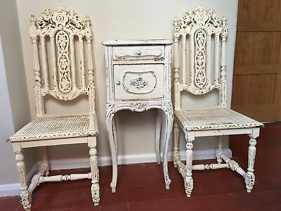 Antique Marble Cabinet And Chairs