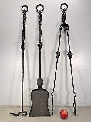 """Massive Antique Wrought Iron FIREPLACE TOOL SET Huge 48""""H Gothic Spanish Revival"""