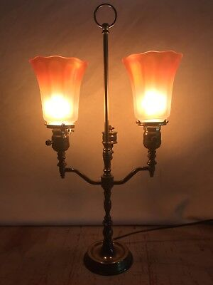 Antique Brass Double Student Table Lamp Carnival Glass Shades