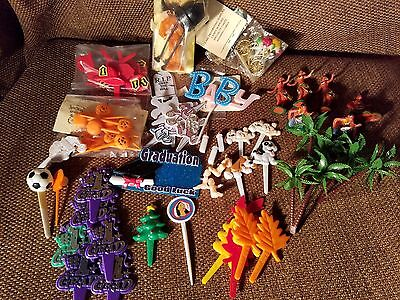 Large Lot of Vintage Cupcake Picks Toppers 60+ pieces Halloween, Hula Etc.