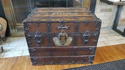 Refinished Antique C.A. Taylor Flat Top Steamer Trunk FREE SHIPPING