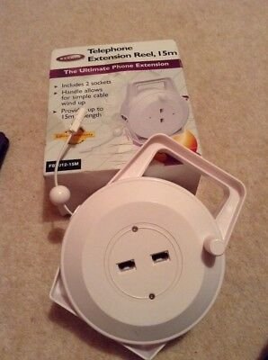 15m Telephone Cable Extension Reel - White,2 Sockets.box