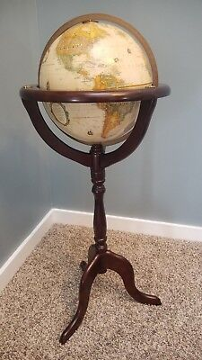 "Vintage 12"" Replogle World Classic Series Topographical Globe Bombay Wood Stand"