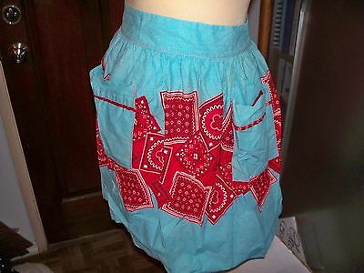 Apron, Waist Style, Blue And Red Bandanas
