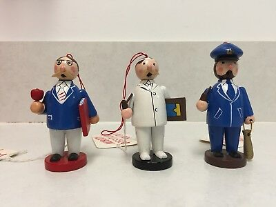 Vintage Wooden Ornaments - Lot Of 3 - 3 Inch - Silvestri
