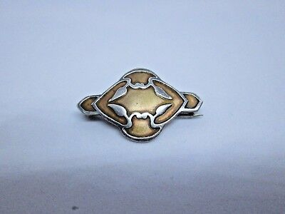 RARE Antique HEINTZ ART METAL SHOP Arts and Crafts Sterling on Bronze Brooch Pin